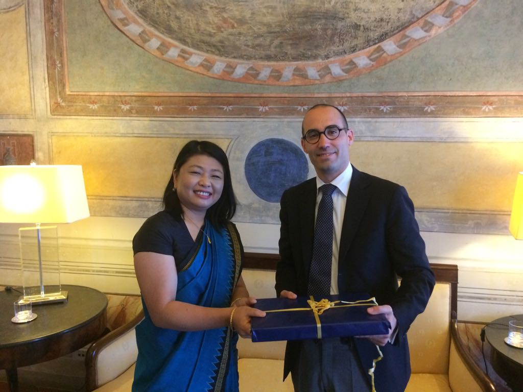 San Marino, Thursday, June 22nd, 2017 - Chargè d'Affaires, Mrs. Gloria Gangte meeting Secretary of Foreign Affairs and Secretary of Industry of San Marino.