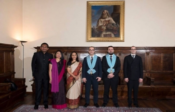 Ambassador Mrs. Reenat Sandhu presented her credentials to Captains Regent Mr. Matteo Fiorini amp Mr. Enrico Carattoni in San Marino. (24th January, 2018).