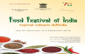 Food Festival of India organised by the Embassy from 27th January to 2nd February, 2018