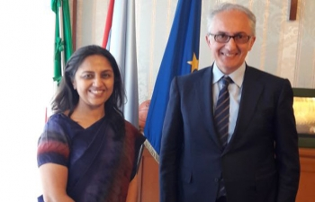 Ambassador Reenat Sandhu met the Mayor Carlo Marino at Caserta on May 3rd.