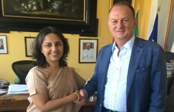 July 6th: Ambassador Reenat Sandhu met the Mayor of Sorrento, Avv. Giuseppe Cuomo. Discussed synergies in tourism and culture cooperation
