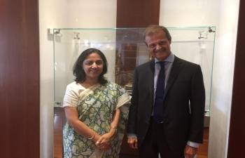 Aug. 2nd: Amb. Reenat Sandhu met Amb. Giampiero Massolo Chairman of Fincantieri Spa and President of ISPI to discuss bilateral cooperation.