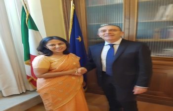 Aug. 3rd: Ambassador Reenat Sandhu met Senator Vito Rosario Petrocelli, President of the Italian Foreign Affairs Committee at Palazzo Madama.