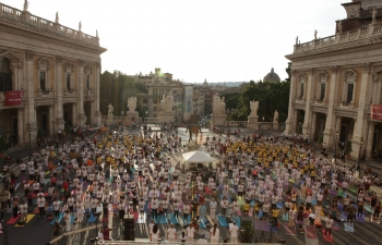 4th International Yoga Day celebrated at the iconic Piazza del Campidoglio in Rome on the 21st of June 2018.