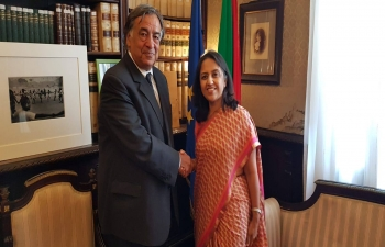 Sep. 16th: Ambassador Reenat Sandhu met Mayor Leoluca Orlando at Palermo, Sicily to discuss future collaboration between India and Palermo.