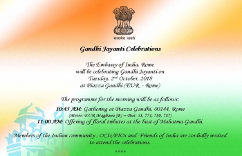 Gandhi Jayanti celebrations in Rome - 2nd October 2018