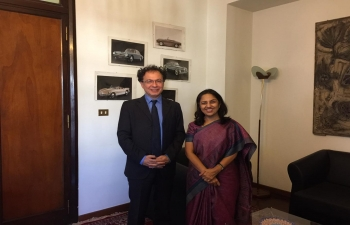Oct 23rd: Ambassador Reenat Sandhu met Undersecretary for Economic Development Mr. Michele Geraci in Rome and discussed about the upcoming India-Italy Technology Summit at New Delhi.