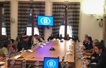 Oct 16th: Goodwill Delegation of Indian Parliamentarians led by Union Minister of State for Parliamentary Affairs, Mr. Arjun Ram Meghwal, held delegation level talk with Italian Cabinet Minister for Parliamentary Affairs Mr. Riccardo Fraccaro at Rome, Italy.