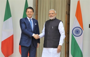 Oct 30th: PM Narendra Modi receives Italian Prime Minister Giuseppe Conte at Hyderabad House ahead of the delegation-level talks.
