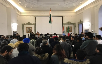 Celebrations at the Embassy of India in Rome for the 70th Republic Day of India.