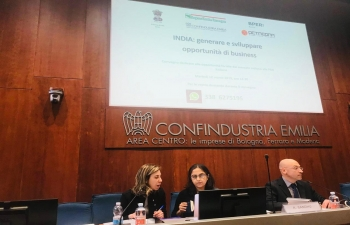 The Indian Embassy organized a commercial event in Bologna in association with Confindustria Emilia Area Centroa, BPER Banca and Regione Emilia-Romagna