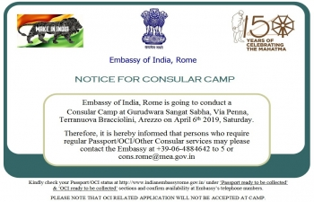 Notice for Consular camp 6th April 2019