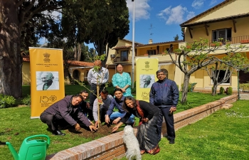 Embassy of India in Rome following Gandhiji's teachings on sustainable use of resources and minimal damage to the environment by planting trees at Embassy Residence.