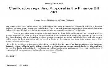 Clarification regarding provision on tax residency of NRIs in Finance Bill 2020
