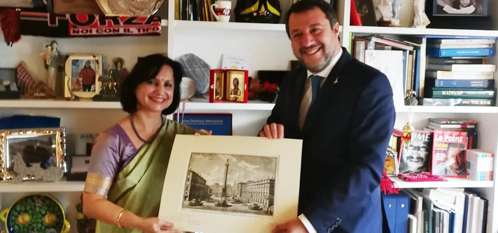 Ambassador Dr Neena Malhotra meeting with Sen. Matteo Salvini