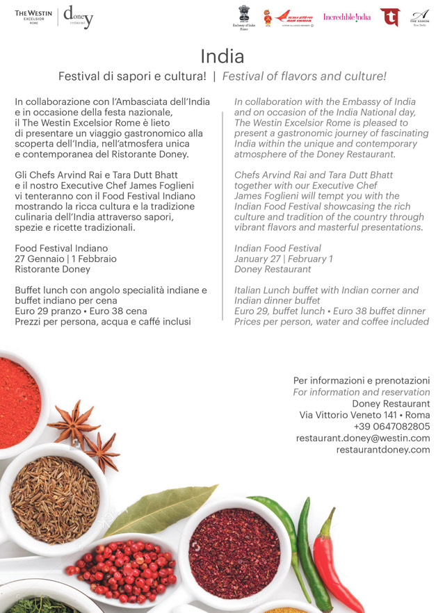 Embassy of India, Rome, Italy : News - Savour Indian culinary